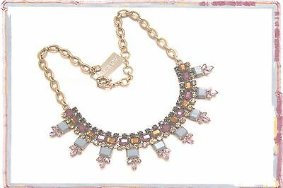 JCREW CRYSTAL RECTANGLES PLUM NECKLACE-  -NWT