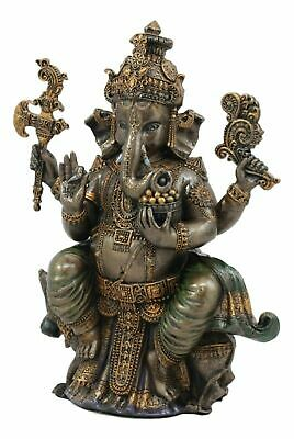 "Hindu Figurine Collection God Ganesha Elephant Sitting Statue 8""h Shiva Son"