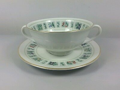 Royal Doulton Tapestry Tc1024 Cream Soup Coupe / Cup And Saucer (Perfect)