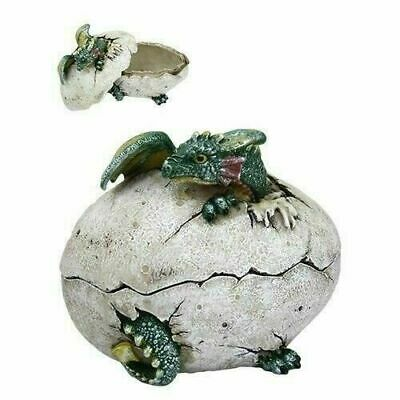 Green Baby Dragon In Egg Jewelry Box Figurine Resin Hand Painted Cool