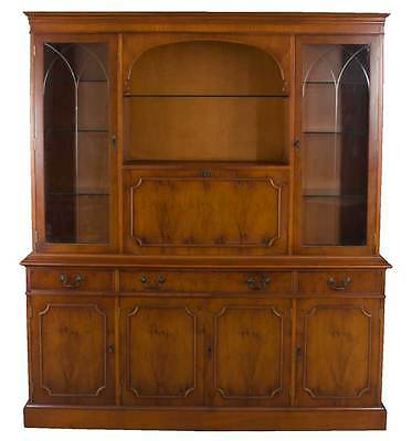 Antique Style English Yew Wood Breakfront Bookcase w Cocktail Liquor Cabinet Bar