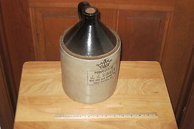 ANTIQUE PRIMITIVE STONEWARE JUG LATE 1800s? NEW HAVEN CT. PROPERTY OF JJ KINNEY