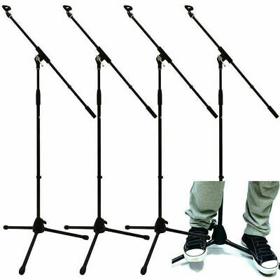 4 X Microphone Boom Stands 2 Year Warranty Free Mic Clips Tripod Base Adjustable