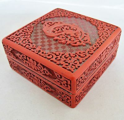"""Antique Chinese Cinnabar Red Lacquer Box with Flowers & Baby Dragon (4"""" long)"""