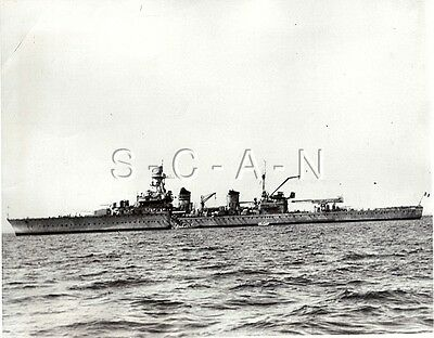 WWII US Large Press Photo- French Navy- Heavy Cruiser Montcalm- D-Day 1944