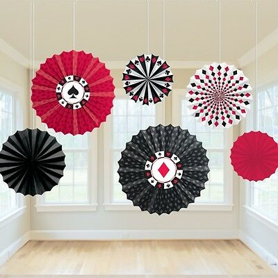 Casino Paper Fan Hanging Decorations Pack Of 6 - Casino / Poker / Cards Party