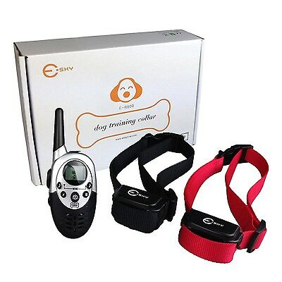 2 Dog Shock Training Collar w/Remote Waterproof Rechargeable 1000 Yard Hunting