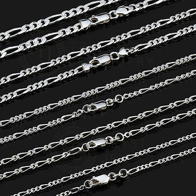 925 Sterling Silver Figaro Necklace Chain 1+3 4mm 45/50/55/60/70/80cm NF10