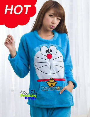 Doraemon Women Girl Cute Long Sleeve Coral Night-suit Pajamas Thicken Warm Blue