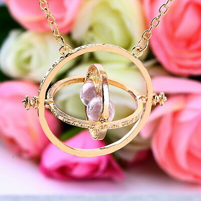 Harry Potter Hermione Granger Rotating Time Turner Necklace Gold Hourglass SY