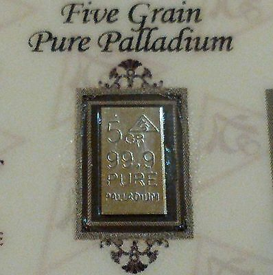 COA Included for Palladium 99.9 Pure 5Grain Precious Metal Bullion PD Bar ACB <