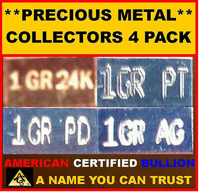 ACB Combo pack Gold Silver Platinum Palladium 1GRAIN Bullion Ingot Bars $
