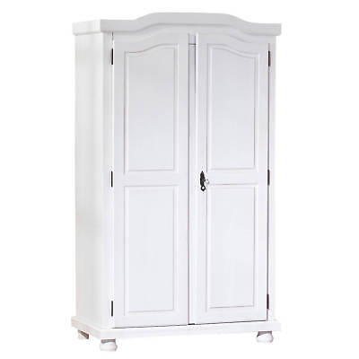 armoire penderie dressing rangement chambre vintage 2 portes bois massif blanc eur 574 95. Black Bedroom Furniture Sets. Home Design Ideas