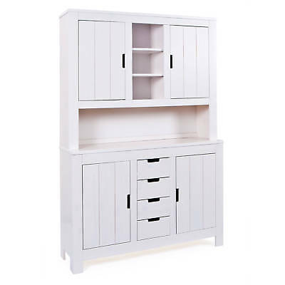 vaisselier bahut buffet commode rangement meuble de cuisine bois massif blanc eur 344 00. Black Bedroom Furniture Sets. Home Design Ideas