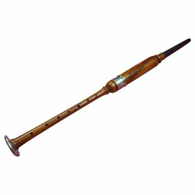 Hm Bagpipe Practice Chanter Rose Wood Natural Color Silver Amount+ 2 Free Reed