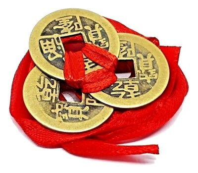 Feng Shui Lucky Chinese I-Ching Coins Set of 3 tied 23mm Red Ribbon I Ching (d9)