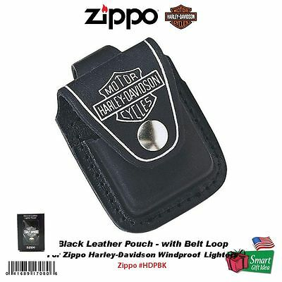 Zippo Black Leather Pouch w/ Belt Loop for Harley-Davidson Zippo Lighters #HDPBK