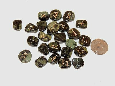 Kambaba Jasper Engraved Rune Stone Set, with Symbol Chart and Cloth Bag included