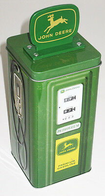 John Deere Tin Old Style Gas Pump savings bank: Official Tin Box Co. Coin holder