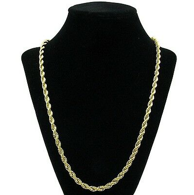 """Rope Chain 5mm Yellow 14k Gold Plated Twisted Braided Mens Hip Hop 24"""" Necklace"""