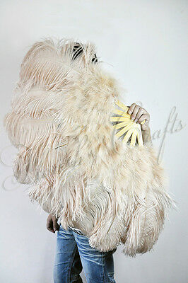 "Light Camel Ostrich & Marabou Feathers fan Burlesque carrying case 24""x43"""