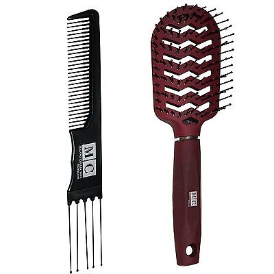 MILANO COLLECTION Professional Hair Styling Brush + Free Wig Comb - Red
