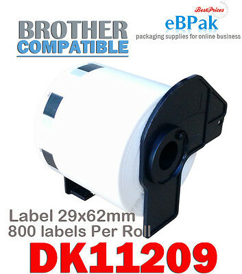 4 x Compatible Thermal Label DK-11209 29 x 62mm 800pcs/Roll for Brother DK11209