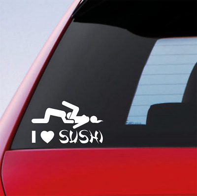I LOVE SUSHI Funny Car/Window/Bumper JDM Drift DUB Decal Sticker