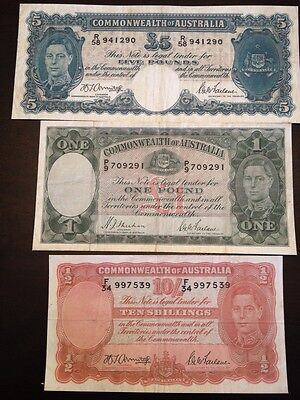 Reproduction Set Australia King George VI 10 Shillings £1, £5 1938-41 Pounds