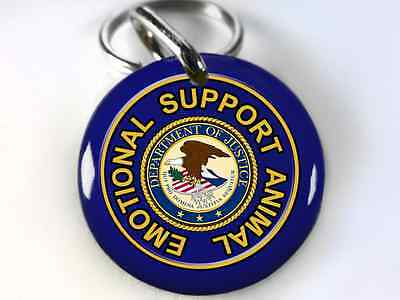 Service Dog ESA Emotional Support Animal Dog tags pet id tags Blue 2 sizes avail