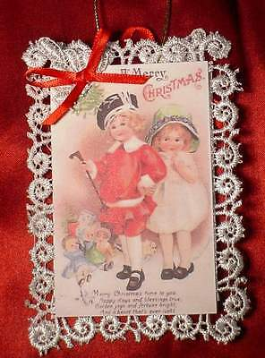 New Handmade Vintage Style Victorian Christmas Card Tree Ornament - Dress Up