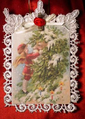 New Handmade Vintage Style Victorian Christmas Card Tree Ornament - Father Xmas