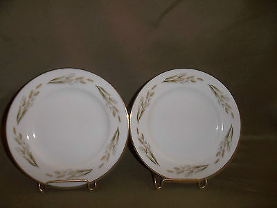 TWO VINTAGE KYOTO FINE CHINA SALAD PLATES PATTERN GOLD WHEAT