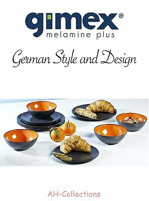 Gimex Melamin 12-tlg. Camping Geschirr Set Grey Color Line orange Dinnerware