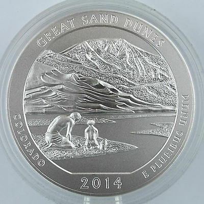 2014 P Great Sand Dunes NP (CO) 5 oz. Silver Uncirculated, with Mint Box & COA