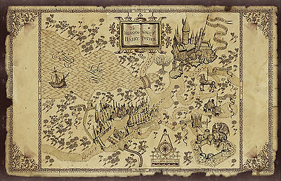 Harry Potter World Map Large Poster Print Hpwm01 A4 A3 A2 A1