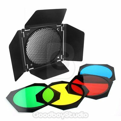 Godox BD-04 Barn Door + Honeycomb Grid + 4 Color Gel Filter for Studio Flash