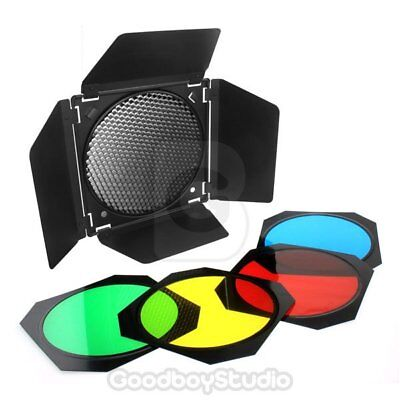UK Godox BD-04 Barn Door + Honeycomb Grid + 4 Color Gel Filter for Studio Flash