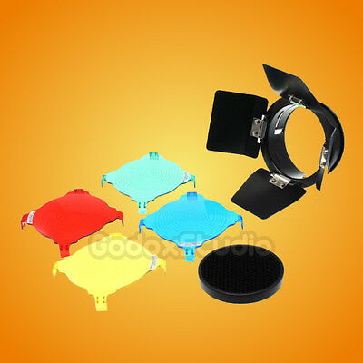 Godox Barn Door 3in1 Honeycomb Grid & Gel Color Filters Barndoor Universal Mount