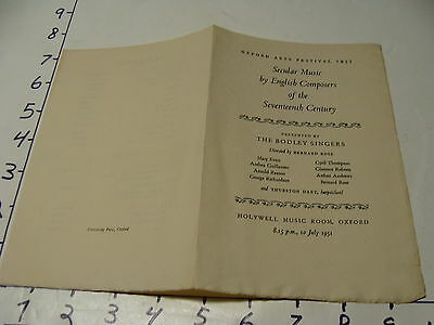 Vintage Travel Paper: 1951 Secular Music by English Composers program Oxford