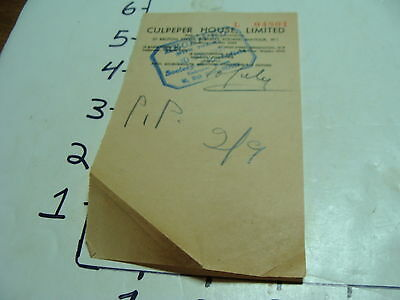 Vintage Travel Paper: Receipt CULPEPER HOUSE, LIMITED, ENGLAND
