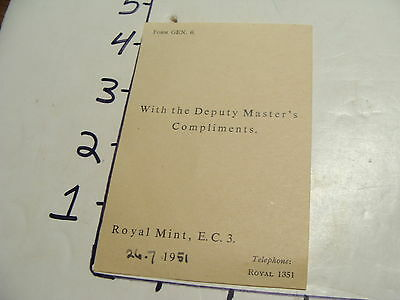 Vintage Travel Paper: 1951 ROYAL MAIL with the deputy masters compliments card