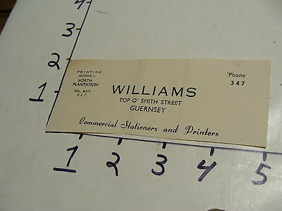 Vintage Travel Paper:1950's letterhead, cut WILLIAMS TOP O'SMITH STREET GUERNSEY