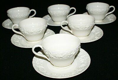 Wedgwood Queensware Cream on Cream Scalloped * SIX Cups and Saucers