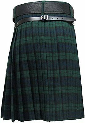 HM Men's Kilt Black Watch Tartan 8 Yard/Scottish Kilt 8 Yard Black Watch Tartan