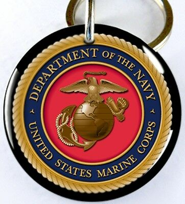 U.S. Dept of Navy Marine Military dog cat round custom tag for pets by ID4PET