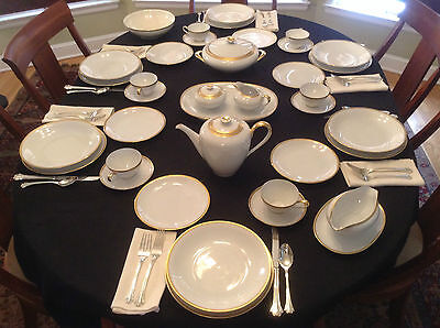 Rosenthal KPM Krister Germany 40-Piece Set for SIX White Gold Crown R 106