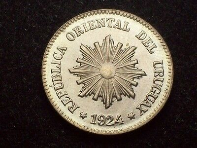 Uruguay 1924 - 2 Centesimos Bu Coin High Grade