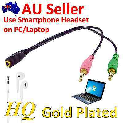 Smartphone Headset To PC/Laptop Adapter/Converter Audio Cable Female To 2 Male
