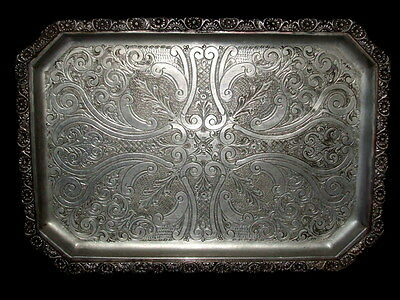 PERSIAN MIDDLE EASTERN RECTANGULAR SERVING COPPER TRAY PLATTER SIGNED 4.4lbs